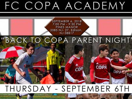 "FC COPA ACADEMY ANNOUNCES ""BACK TO COPA PARENT NIGHT"""