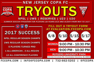 NEW JERSEY COPA FC ANNOUNCES SPRING 2018 TRYOUTS
