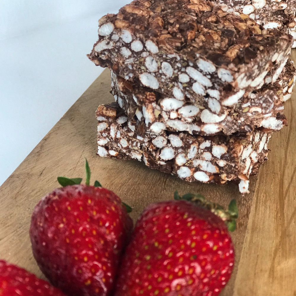 Cacao crackle bars, gluten free, refined sugar free, healthy snack, kids snacks, nutrition
