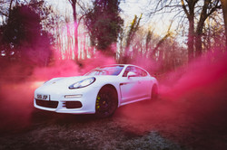 Arrive in style cars Porsche pink smoke