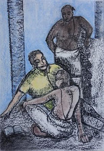 untitled,Charcoal and pastels on paer,32