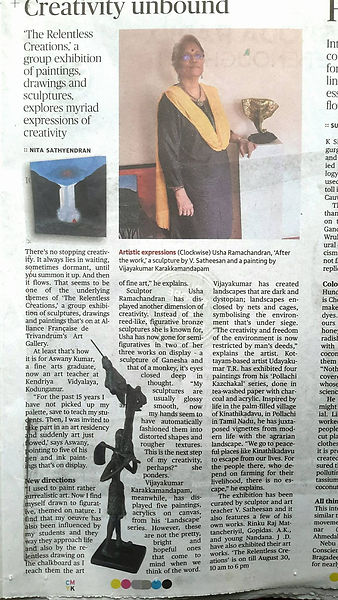 This is what the Decan Chronicle  had to say abour Usha Ramachandran's exhibition at Alliance Francaise .