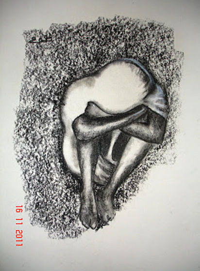 Charcoal and pastelson paper,32cm x41 cm