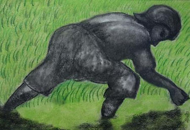 The sower,Charcoal and pastels on paper,
