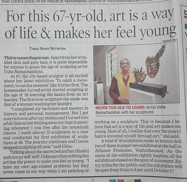 Usha Ramachandran's sculptures at Alliance farncaise