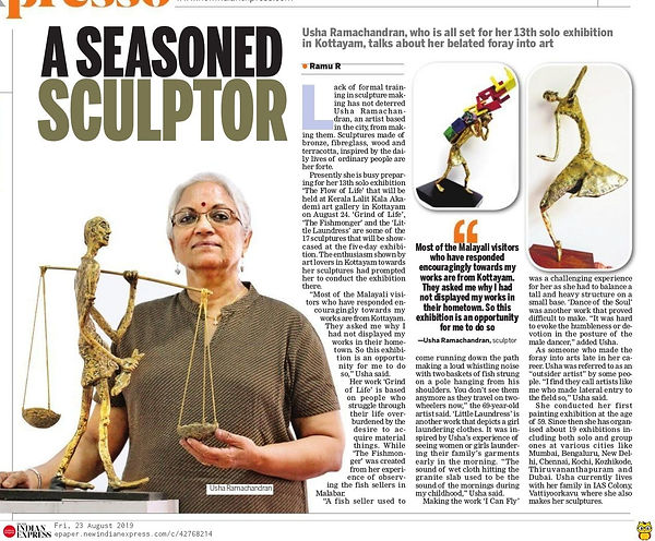 About Usha Ramachandran's Exhibition of Sculptures and Paintings @Kottayam