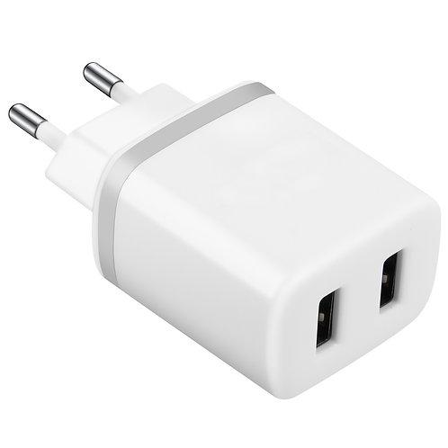 Chargeur Secteur 2 Ports USB 2.4A Blanc