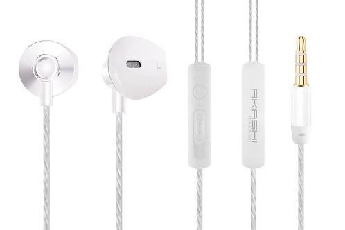 Ecouteurs Stéréo Premium Intra-Auriculaires avec Télécommande et Micro / Blanc
