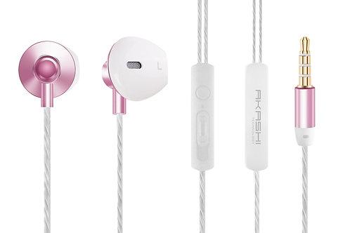 Ecouteurs Stéréo Premium Intra-Auriculaires avec Télécommande et Micro / Rose