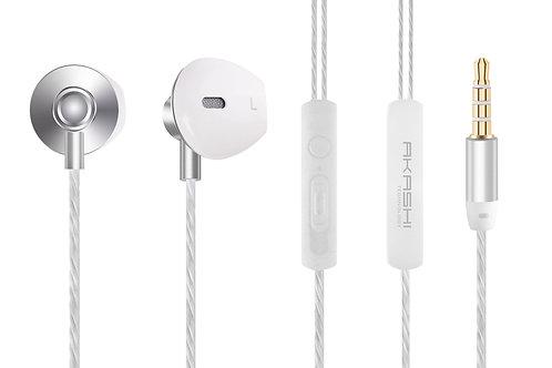 Ecouteurs Stéréo Premium Intra-Auriculaires avec Télécommande et Micro/Argent