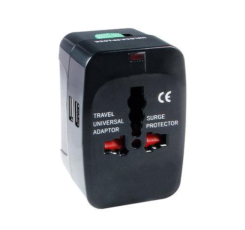 Adaptateur Universel de Voyage avec 2 ports USB. Compatible dans 150 pays - Noir