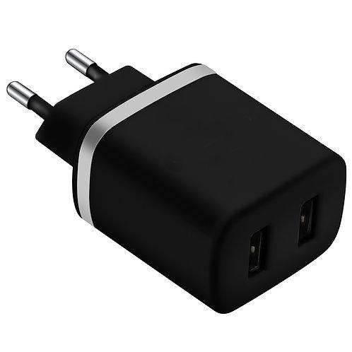 Chargeur Secteur 2 Ports USB 2.4A Noir