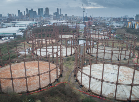 Gas Holder drone Inspections- Bromley-By-Bow, Central London