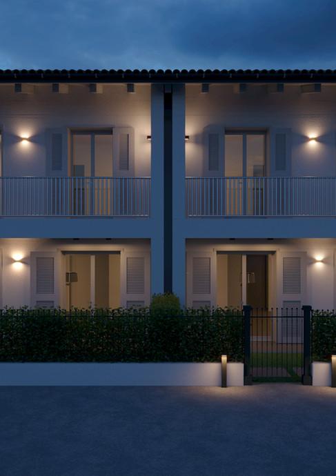 Prospetto frontale notturno Residence i Melograni