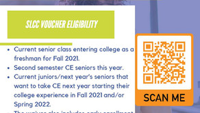 SLCC Application Voucher: For Seniors going to SLCC or 11th/12th grade students taking CE next year.