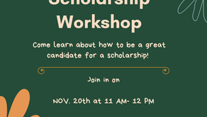 Virtual Scholarship Workshop today 11:ooAM.  A virtual night out with U.U students @ 6pm