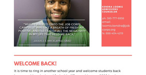 Job Corps Welcome Back Message