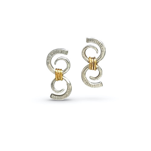Double Scroll Stud Earrings