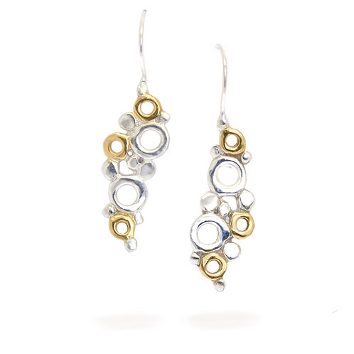 Fizz Drop Earrings - Sterling Silver with 24k gold accents