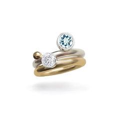 Off Set Aquamarine Diamond and Gold Ball
