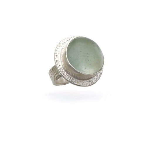 Sea Glass Ring with hammered texture