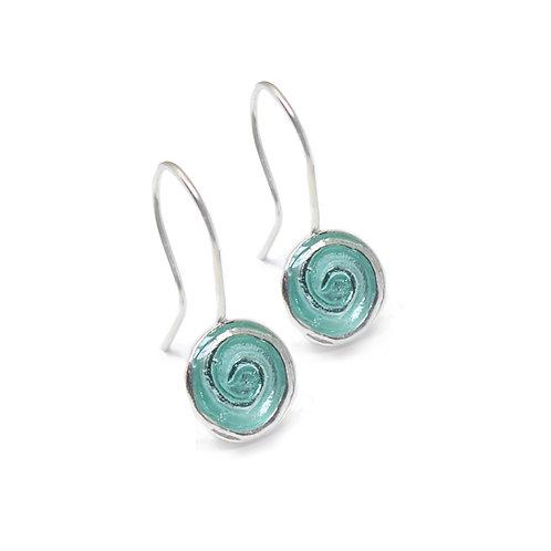 Whirl Pool drop earrings with aqua enamel