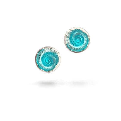 Ammonite Studs with Aqua Enamel