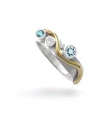 Wave Engagement Ring with Diamond, Aquam