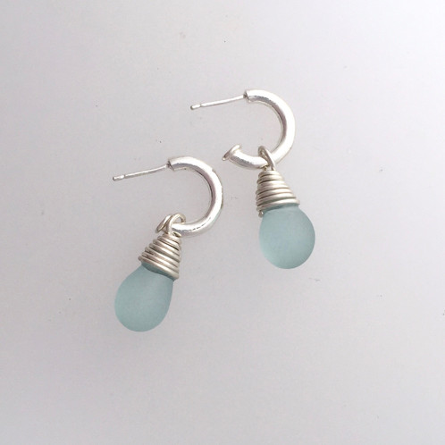 12bb4a3396272 Sea Glass Hoop Earrings