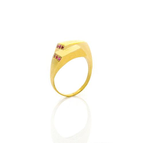 Double Signet Ring - Gold Finger