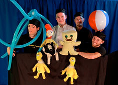 Men, Puppets, balls, and balloons
