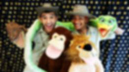Cartoon monkey and snake