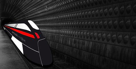 Einfahrender Zug mit Erfolgslabor-Logo