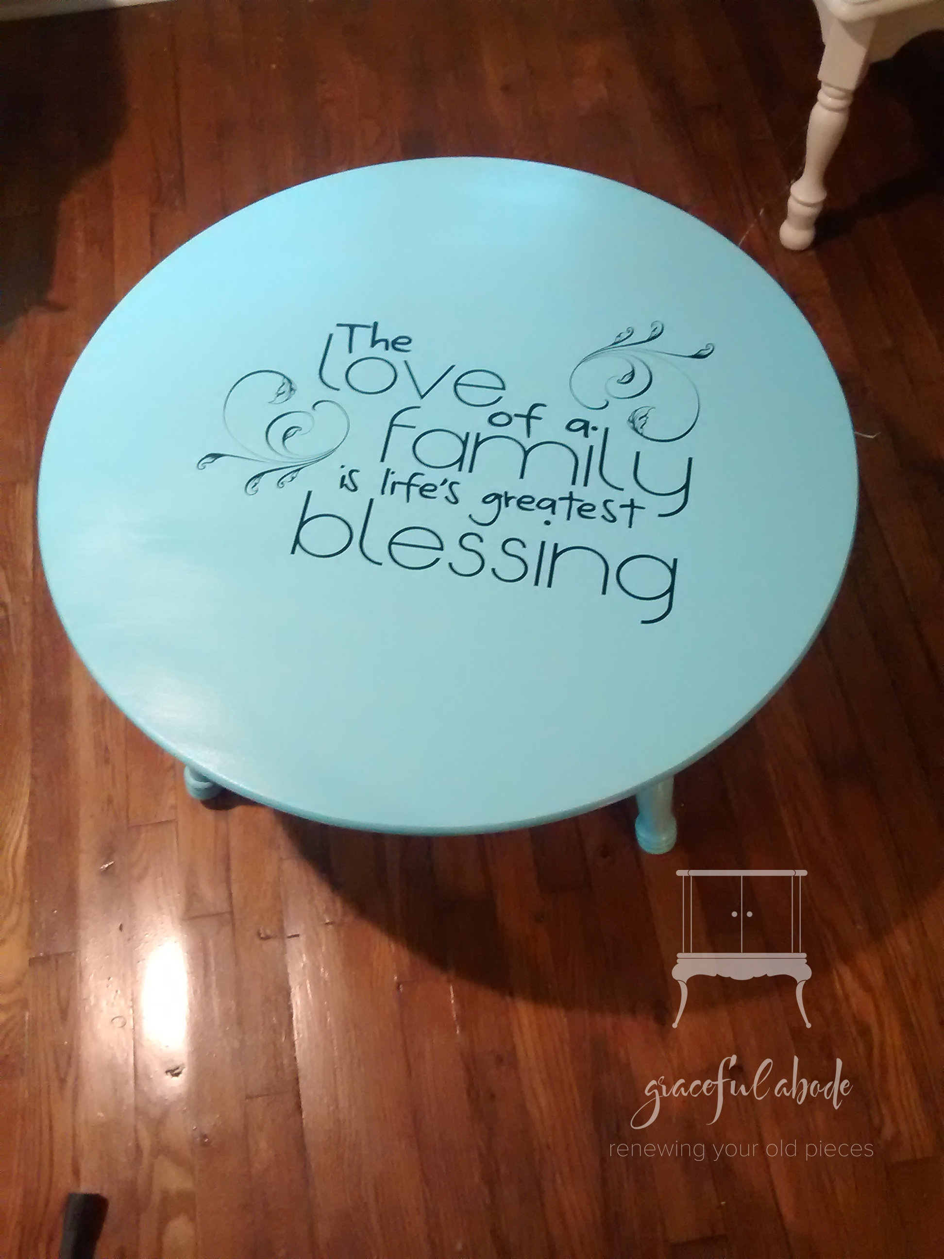Turquoise Coffee Table w/ Quote