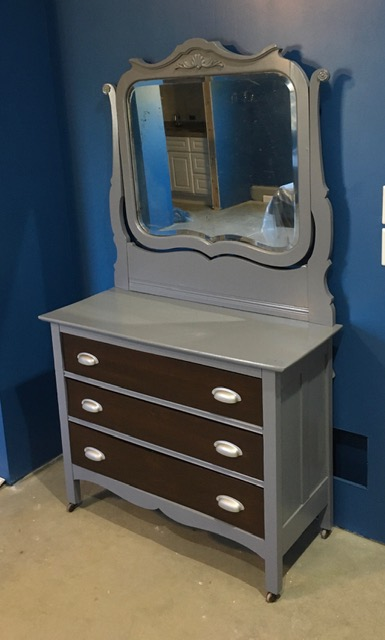 Antique Dresser Vanity & Mirror