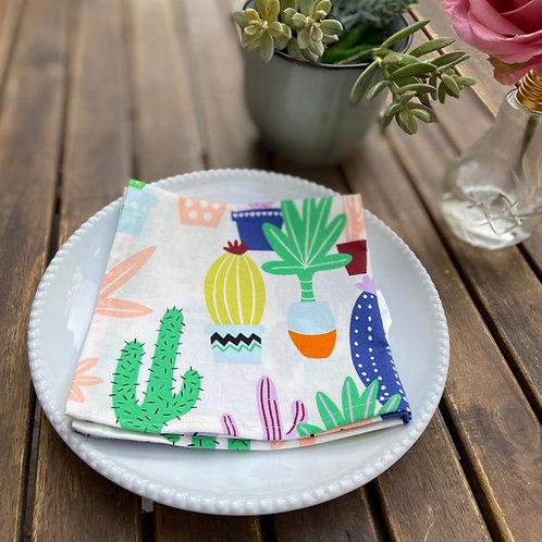 "13""x13"" Cloth Dinner Napkins - Cactus Print"