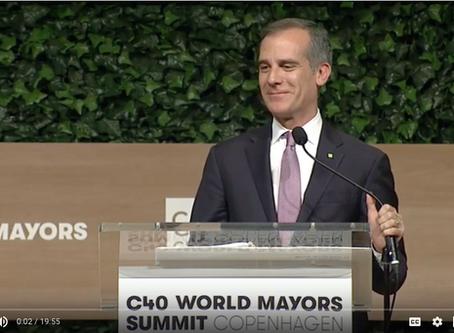 Los Angeles Mayor Eric Garcetti announces Global Green New Deal at C40 Cities Summit