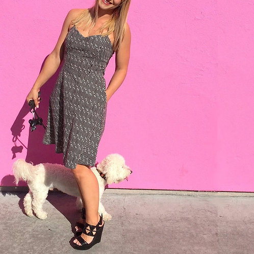 Cotton Sundress with Pockets and Built-In Bra in Paperclip Print