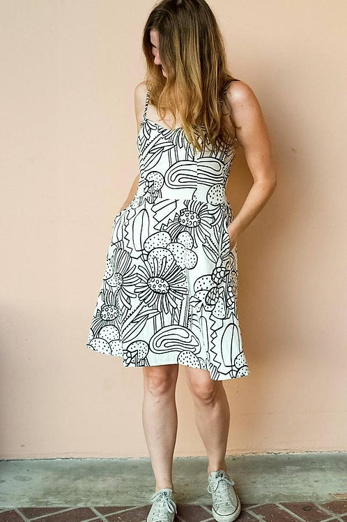 Cotton Sundress in Succulents Print with Adjustable Straps