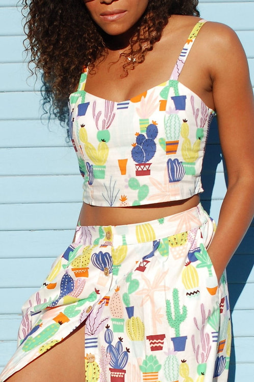 Cactus Print Bralette Crop Tank Top with Shirring