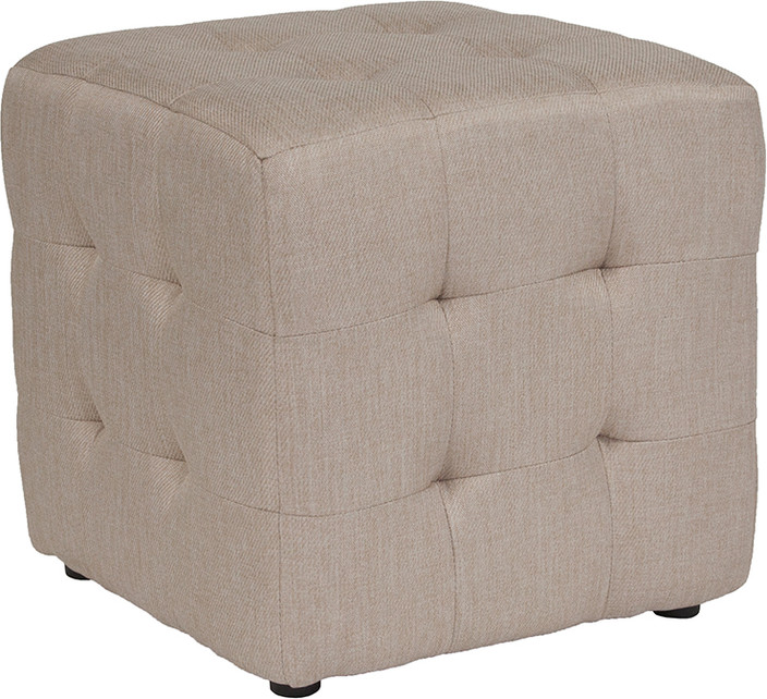 Beige Tufted Pouf