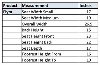 Flyta Activ Shower Chair Measurements.pn