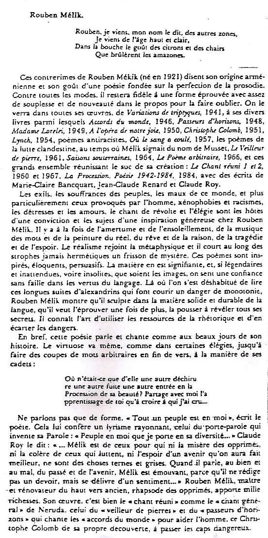 extrait de la Poésie du Vingtième siècle de Robert Sabatier concernant R.Melik
