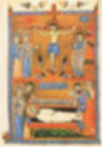 enluminure :le Christ en croix et au tombeau