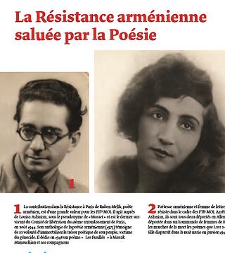 2 portraits Rouben melik et Louise aslanian :la résistance arménienne saluée par la poesie