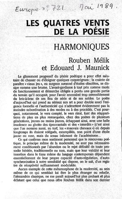Revue Europe article les quatres vents de la poésie