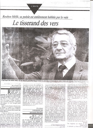article de presse Rouben Melik tisserand des vers
