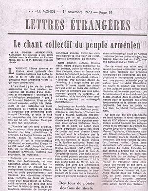 article de presse : le Monde nov 1973