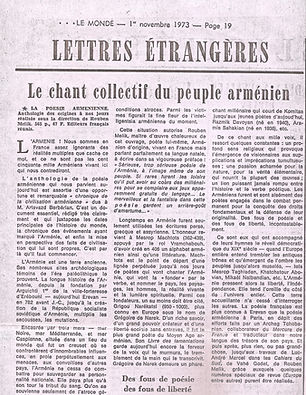 article de presse : le Monde nov 1973