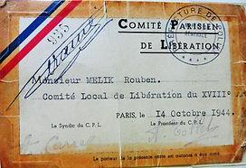 carte avec bandeau bleu blanc  rouge du comté de libération du 18è arr de paris